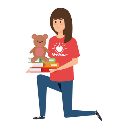 Ilustración de woman volunteer with books and bear teddy vector illustration design - Imagen libre de derechos