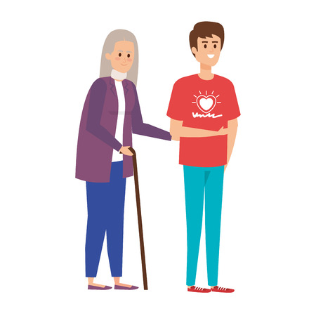 Ilustración de young man volunteer helping a grandmother vector illustration design - Imagen libre de derechos