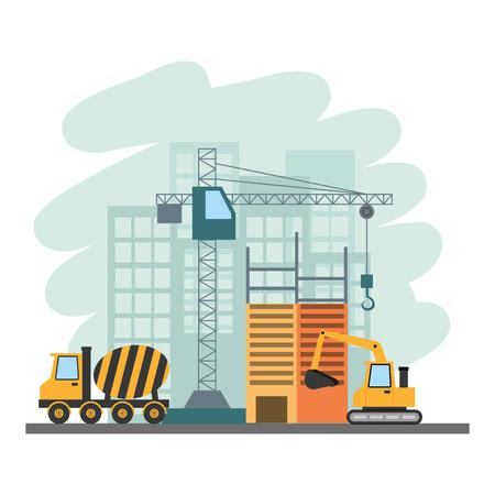 Illustration pour building construction bulldozer mixer truck crane tools vector illustration - image libre de droit