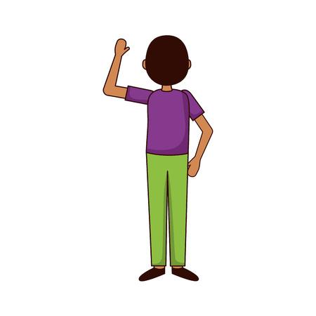 Illustration pour man hand up back view vector illustration - image libre de droit