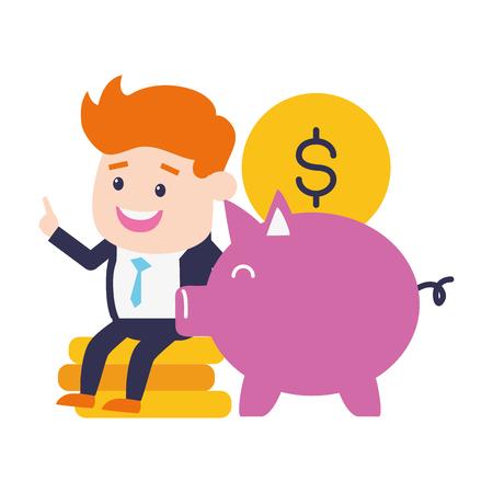 Ilustración de businessman piggy bank coins online banking vector illustration - Imagen libre de derechos