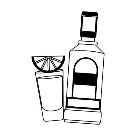 Illustration pour mexican bottle tequila shot lemon vector illustration - image libre de droit