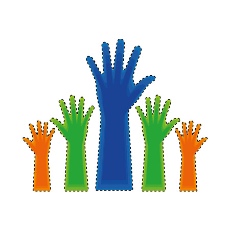 Ilustración de hands human up isolated icon vector illustration design - Imagen libre de derechos