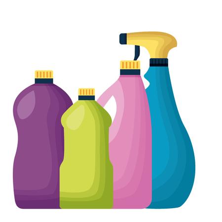 Illustration pour botltes spray spring cleaning tools vector illustration - image libre de droit
