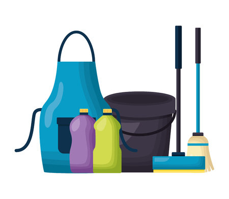 Illustration pour bucket apron broom bottles squeegee spring cleaning tools vector illustration - image libre de droit