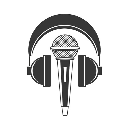 Ilustración de microphone and headphones audio music vector illustration - Imagen libre de derechos