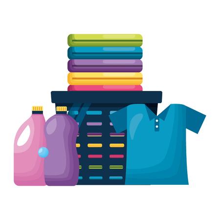 Illustration pour laundry bottles detergent spring cleaning tools vector illustration - image libre de droit