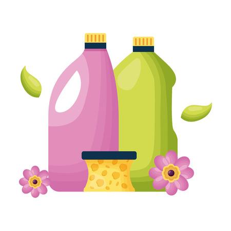 Illustration pour botltes sponge spring cleaning tools vector illustration - image libre de droit