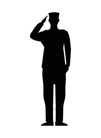 Ilustración de military man silhouette icon vector illustration design - Imagen libre de derechos