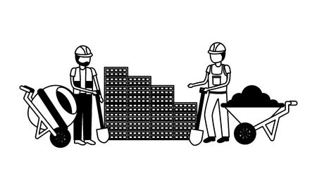 Illustration pour construction workers with wheelbarrow and mixer equipment vector illustration - image libre de droit