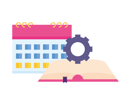 Ilustración de book calendar and gear white background vector illustration - Imagen libre de derechos