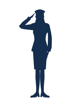 Ilustración de military woman silhouette icon vector illustration design - Imagen libre de derechos