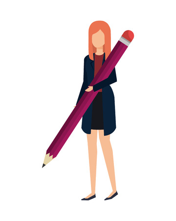 Illustration for elegant businesswoman with pencil vector illustration design - Royalty Free Image