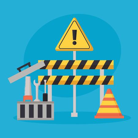 Ilustración de construction equipment barrier cone toolbox vector illustration - Imagen libre de derechos