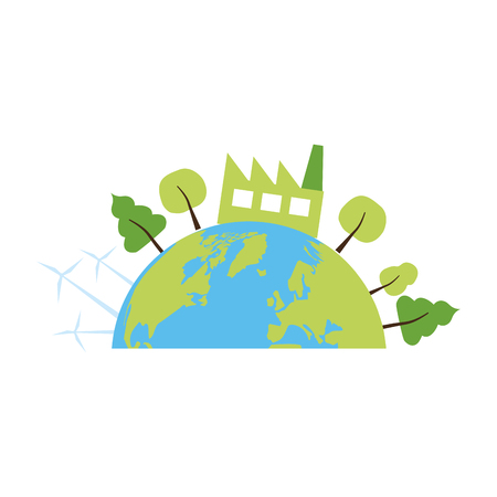Ilustración de planet factory ecology energy earth day vector illustration - Imagen libre de derechos