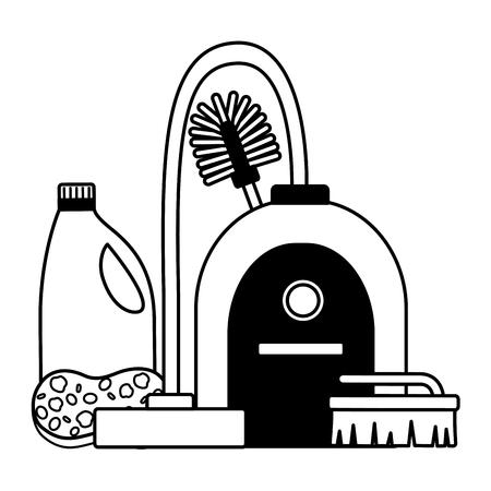 Illustration pour vacuum toilet brush sponge detergent spring cleaning tools - image libre de droit