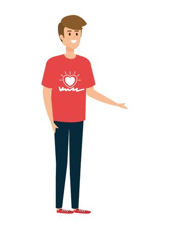 Ilustración de young man volunteer character vector illustration design - Imagen libre de derechos