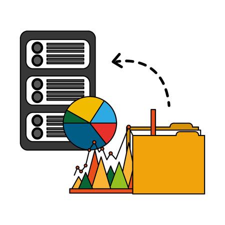 Ilustración de folder with server data and statistics graphics vector illustration design - Imagen libre de derechos