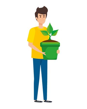 Illustrazione per young man lifting houseplant in pot vector illustration design - Immagini Royalty Free