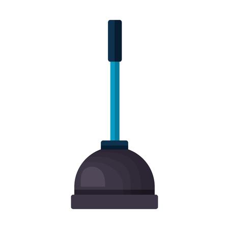 Ilustración de plunger tool cleaning on white background vector illustration - Imagen libre de derechos