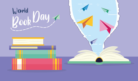 Illustration for textbook paper planes torn - world book day vector illustration - Royalty Free Image