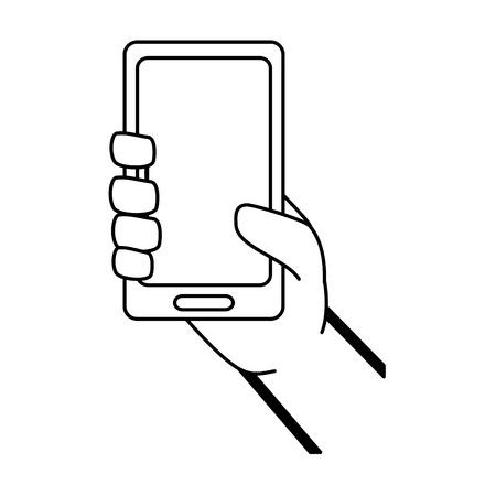 Illustration pour hand with mobile device vector illustration design - image libre de droit