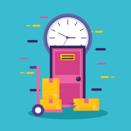 Illustration pour handcart boxes door clock fast delivery business vector illustration - image libre de droit
