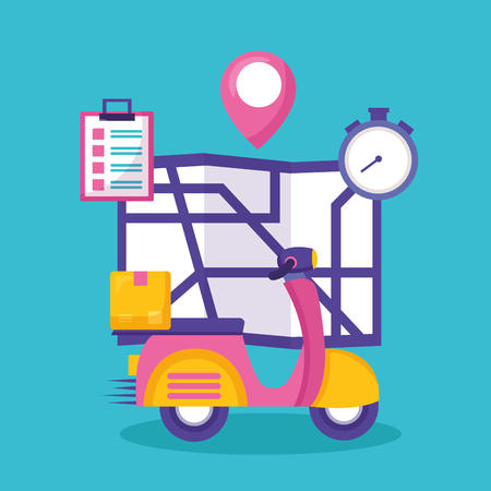 Ilustración de motorcycle box clock map fast delivery business vector illustration - Imagen libre de derechos