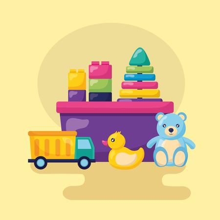 Ilustración de kids toys bear truck duck blocks bucket vector illustration - Imagen libre de derechos