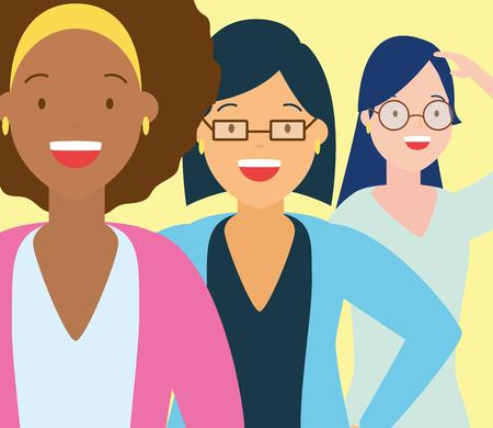 Illustration for diversity three women people vector illustration design - Royalty Free Image