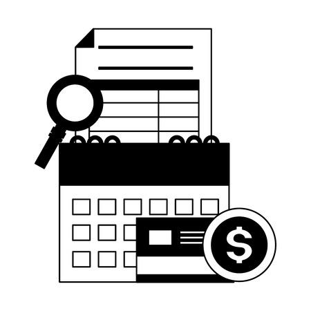 Photo pour calendar report bank card money magnifier tax payment vector illustration - image libre de droit