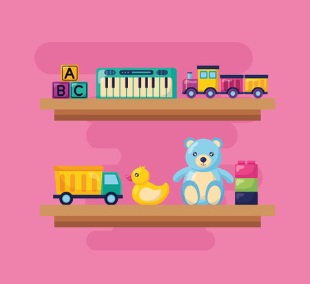 Ilustración de piano train bear duck truck blocks shelf kids toys vector illustration - Imagen libre de derechos