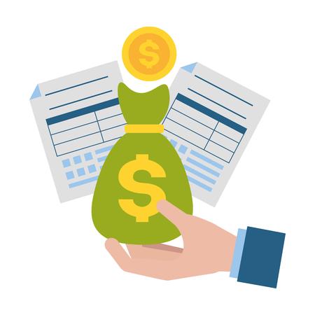 Illustration pour hand money bag form coin tax payment  vector illustration - image libre de droit