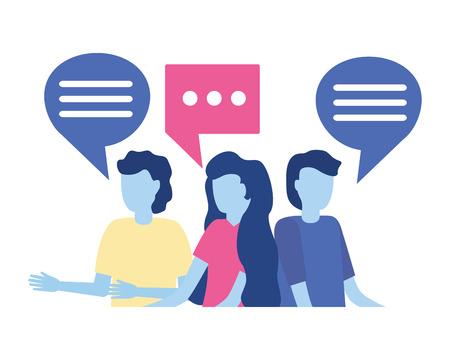 Ilustración de group people speech bubble on white background vector illustration - Imagen libre de derechos