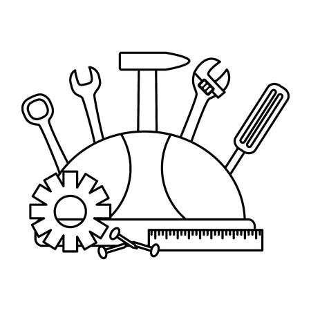 Illustration pour helmet screwdriver hammer screw gear construction tools vector illustration - image libre de droit