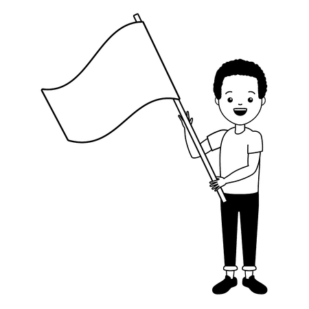 Illustration pour young man with flag vector illustration design - image libre de droit