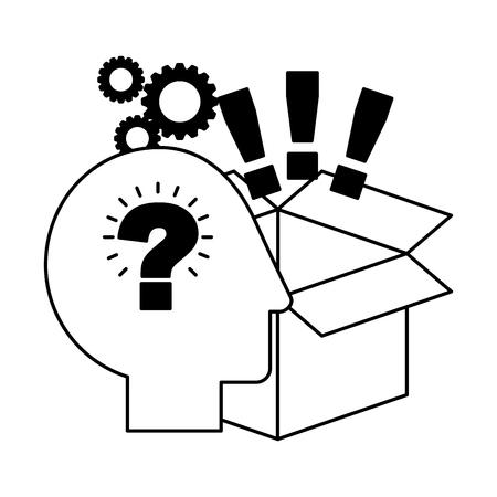 Ilustración de head brain storage exclamation marks gears creativity idea vector illustration - Imagen libre de derechos