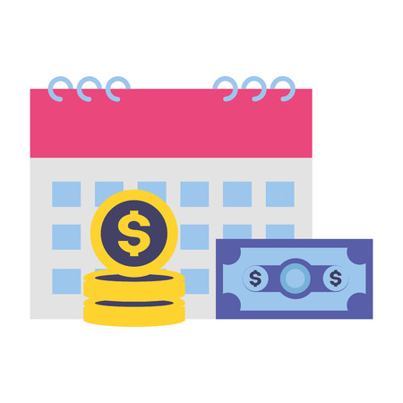 Illustration pour calendar money banknote coins tax payment vector illustration - image libre de droit