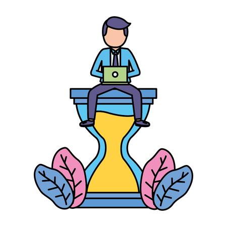 Illustration pour businessman with laptop sitting on hourglass vector illustration - image libre de droit