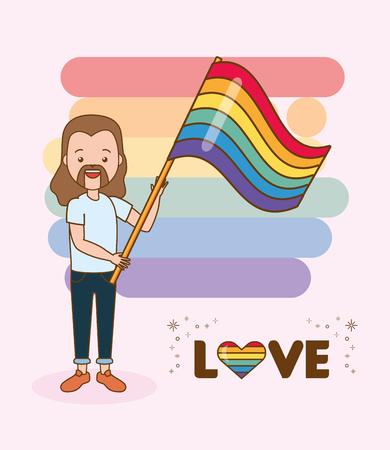 Ilustración de happy guy with flag lgbt pride vector illustration - Imagen libre de derechos