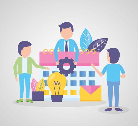 Illustration pour business people calendar gear work time vector illustration - image libre de droit