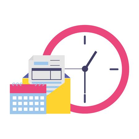 Ilustración de clock calendar coins tax time payment vector illustration - Imagen libre de derechos