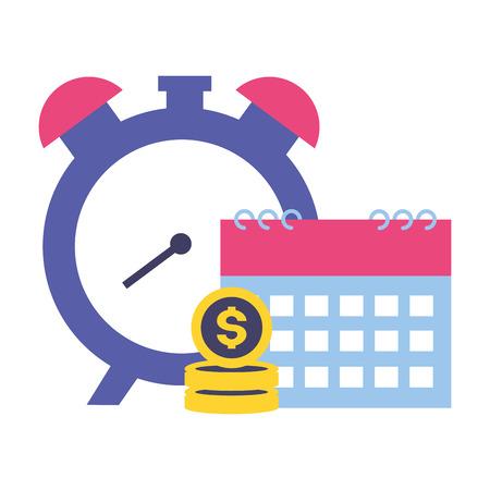Ilustración de clock calendar money tax time payment vector illustration - Imagen libre de derechos