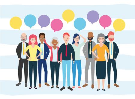 Ilustración de diversity man and woman characters speech bubble talk vector illustration - Imagen libre de derechos