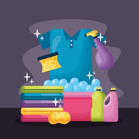 Illustration pour laundry bucket sponge liquid soap spring cleaning tools vector illustration - image libre de droit