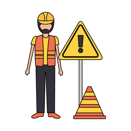 Illustration for construction worker traffic caution sign cone vector illustration - Royalty Free Image