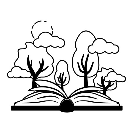 Illustration for open book forest trees - world book day vector illustration - Royalty Free Image