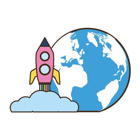 Illustration for world rocket launching on white background vector illustration - Royalty Free Image