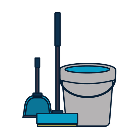 Illustration pour bucket broom spring cleaning tools vector illustration - image libre de droit
