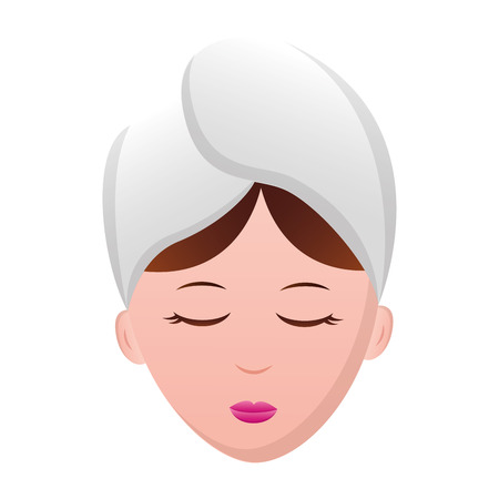 Illustration for woman face with towel spa vector illustration - Royalty Free Image